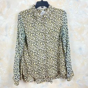 Anthropologie Button Down Shirt Blouse Patchwork
